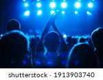 Concert silhouette of happy young woman partying on live event in crowded music hall.Curated shutterstock concert collection.Big group of young people partying on dance floor in night club.