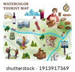 watercolor tourist map for...   Shutterstock . vector #1913917369