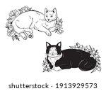 set of lying flower cat.... | Shutterstock .eps vector #1913929573
