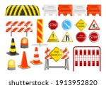 traffic barriers collection....   Shutterstock .eps vector #1913952820