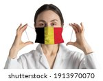 Respirator with flag of belgium ...