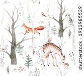 Watercolor Woodland Animals...