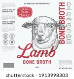 lamb bone broth label template. ... | Shutterstock .eps vector #1913998303