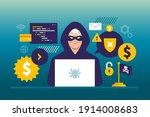 hacker activity. hacking... | Shutterstock .eps vector #1914008683