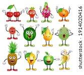 set of cartoon fruits with... | Shutterstock .eps vector #1914020416