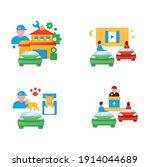 getaway car flat icons set....