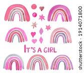 pink  red rainbows cute nursery ... | Shutterstock . vector #1914071800