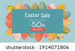 easter banner with discounts ...   Shutterstock .eps vector #1914071806
