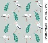 Storks  Green Leaf   Spring...