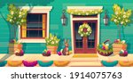 house facade with easter... | Shutterstock .eps vector #1914075763