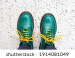 Green Shoes And Yellow Shoelaces