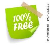 100 free green note paper...   Shutterstock . vector #1914083113