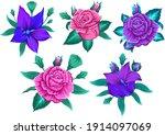 modern flower design for print. ... | Shutterstock .eps vector #1914097069