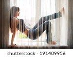 funny slim woman  fool around... | Shutterstock . vector #191409956