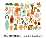 set of trendy doodle and... | Shutterstock .eps vector #1914113929