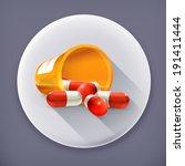 pills  long shadow vector icon | Shutterstock .eps vector #191411444