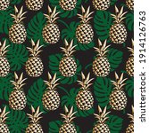 seamless pattern with pineapple ... | Shutterstock .eps vector #1914126763