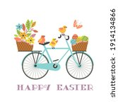 Cute Easter Chickens On Retro...