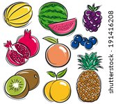 set of fruits  melon ... | Shutterstock .eps vector #191416208