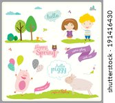 vector illustration in a cute... | Shutterstock .eps vector #191416430