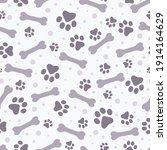 seamless pattern paw print and... | Shutterstock .eps vector #1914164629