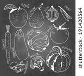 vegetables on chalkboard in... | Shutterstock .eps vector #191420564