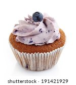 Blueberry Cupcake On A White...