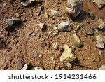 wet ground  yellow soil and... | Shutterstock . vector #1914231466