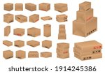 set of cardboard box mockup or... | Shutterstock .eps vector #1914245386