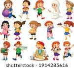 children doing different...   Shutterstock .eps vector #1914285616