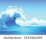 big ocean wave with tropical... | Shutterstock .eps vector #1914361699