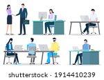office workers at desktops ...   Shutterstock .eps vector #1914410239