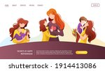 web page with moms with their... | Shutterstock .eps vector #1914413086