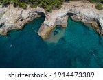 Aerial View Of Rocky Beach Near ...