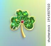 golden clover leaf for st.... | Shutterstock .eps vector #1914507010