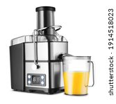 Small photo of Cold-Press Whole Fruit Extraction Juicer Isolated on White. Front View Modern Stainless Steel 800 Watt 6 Digital Speeds Fruit and Juice Machine with Cup of Juice. Domestic Small Kitchen Appliances