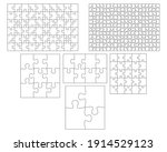 blank jigsaw puzzle set. simple ... | Shutterstock .eps vector #1914529123