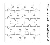blank jigsaw puzzle 25 pieces.... | Shutterstock .eps vector #1914529189