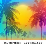 tropical sunrise with gradient... | Shutterstock .eps vector #1914561613