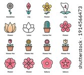 flower icons color vector... | Shutterstock .eps vector #1914566473