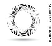 circle with halftone black dots ... | Shutterstock .eps vector #1914589450
