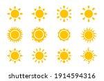 vector cartoon yellow sun... | Shutterstock .eps vector #1914594316
