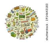 organic farm background for... | Shutterstock .eps vector #1914643183