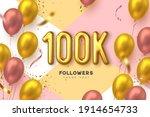 100k followers banner. thank... | Shutterstock .eps vector #1914654733