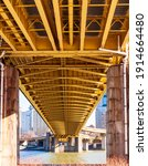 Small photo of Pittsburgh, Pennsylvania, USA 2-6-21 The underside of the Fort Pitt bridge that carries State Route 376 from the Fort Pitt tunnels into downtown Pittsburgh and crosses over the Monongahela river