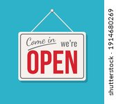 open sign business vector shop...   Shutterstock .eps vector #1914680269
