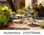 Mediterranean courtyard with...