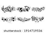 set of floral wreath.... | Shutterstock .eps vector #1914719536