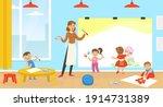 teacher teaching kids to paint  ... | Shutterstock .eps vector #1914731389