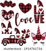 buffalo plaid valentine's day...   Shutterstock .eps vector #1914761716